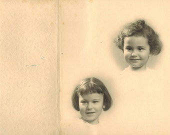 """Antique French Photo Photograph Portrait Picture """"Two Sisters"""" 1920's Rare!"""