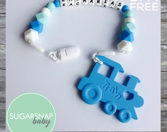 Silicone - personalized baby teether - blue silicone train teether - baby gift - silicone teethers - pacifier clip