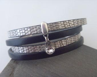 Silver/black wrapbracelet with Swarovski