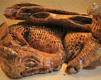 Sleeping Baby Dragon Chainsaw Carving
