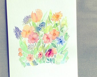 WATERCOLOR SMALL PRINT Floral Field Art print of my watercolor painting // floral home decor //  Size: 13x17 cm // watercolor flowers
