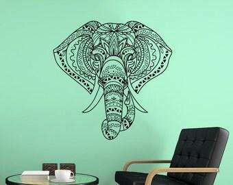 Bohemian Elephant Wall Decal Ganesh Boho Style Vinyl Sticker Decorated Indian Elephant Head Animal Art Mural Yoga Studia Bedroom Decor NV118