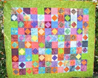Handmade Batik Tiles Quilt, Lap Size Quilt, Wall Hanging, Bright Color Quilt, Batik Fabric