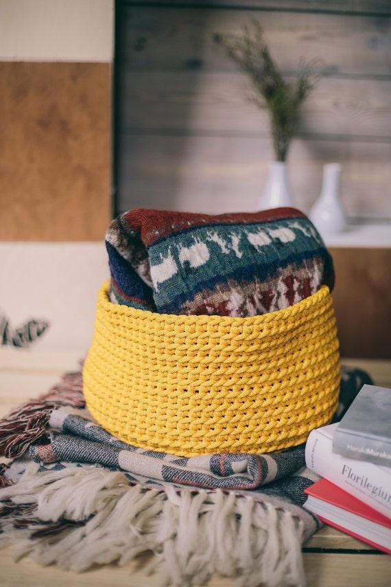 Yellow decor, home storage, nursery storage baskets, crochet storage basket, kids room decor, crochet basket, toy basket, handmade baskets