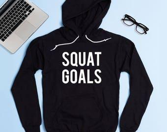 Free Shipping! Squat Goals Hoodie Sweatshirt, Women's Hoodie, Gym Hoodie, Workout Hoodie, Funny Hoodie