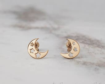 Moon Star Earrings, 14k Gold Earrings, Yellow Gold, Gold Moon Star, Gold Moon Earrings, Gold Stud Earrings, Women's Gift, Gold Star Earrings