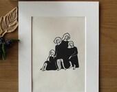 Original Relief Print 'Four Seasons', Handmade, Free shipping!