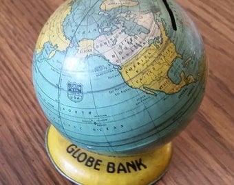 Vintage J Chein & Co. Small Metal Globe Bank French West Africa No Stopper