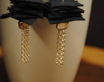 Beautiful earrings made with leather square