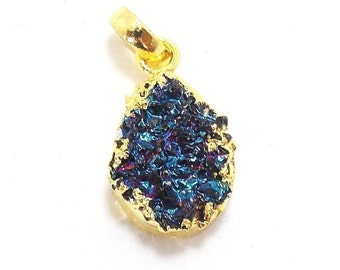 10% OFF Electroplated Natural Peacock Druzy Handmade Pendant, 14 x 18 mm Druzy / Fashion Pendant / Natural Pendants / Pendants (PJ3152PJ)