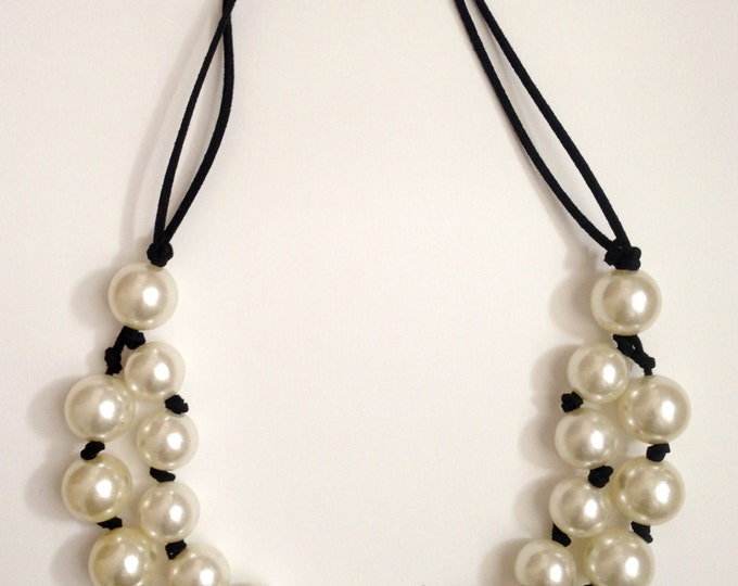 Black and white necklace, White beaded statement necklace and black laces