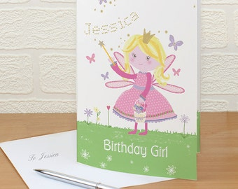 Personalised Garden Fairy Card - Girls Birthday Gift - Fast Delivery