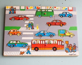 Vintage wooden Puzzle Classic cars, Simplex Toys, 1960s