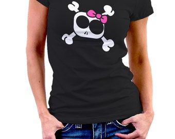 HEAD of DEATH GIRLY with node flow • black T-shirt for women • fun • • • 054 design funny Tshirt