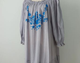 Hand Embroidered Dress, Gray Dress with Blue Embroidery