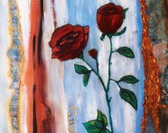 Painting,roses,abstract, mixed media, art, creative, brick,red,canvas,painting,blue,white,Christmas ,rustic kitty company