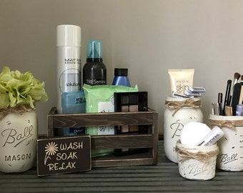 7 Piece Mason Jar Bathroom Set, Bathroom Decor, Make Up Organizer, Bathroom  Organization