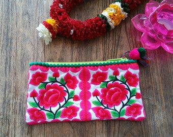 Embroidered Quirky Purse with pom pom trim