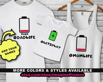 Matching Mom/Dad/Kid(s) Battery Shirts - #ParentLife & #Let'sPlay .. 100% Customizable!