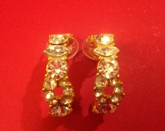 Vintage Monet Rhinestone and Gold Tone Large Hoop Pierced Earrings, Made in 1980's