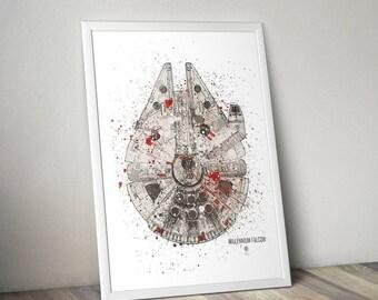 Star Wars Poster Print | Watercolour | Millennium Falcon | Wall Art | Video Game Art | Star Wars Vehicle | Minimalist | Star Wars Print