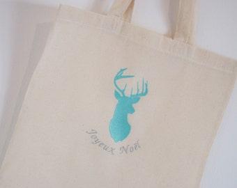 "Tote Bag ""Merry Christmas"" blue"