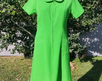 Vintage Bright Green Uniform Dress