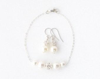 Set of Bridesmaid Pearl Gift Set,Bridesmaid Jewelry Set