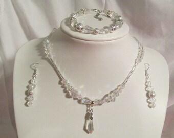 Bridal Jewelry set,  Clear AB Swarovski Crystal Necklace set