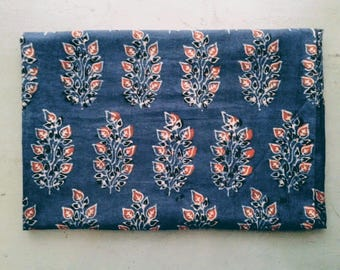 FABRIC/cotton/AJRAKH  print/ 108 x 74 cm/Made in India/Hand block print/Gujarat/Indigo/Free Shipment