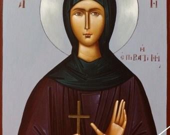 Saint Paraskevi of Iasi, orthodox icon, byzantine original icon, η Αγία Παρασκευή η Επιβατινή, hand painted on request, βυζαντινή αγιογραφια