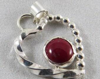 Red Jasper in sterling silver heart