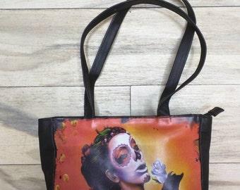 Bolsa de mano calavera, bolsa calavera mexicana, bolsa de mano de piel, bolsa de piel, bolsa tatuada