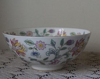 Haddon Hall Minton Bone China Bowl Gold Rim Floral Retro