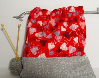 Yarn Heart bag,  Knitting Bag, Crochet Bag, Yarn Bag,  Project Bag, Sock knitting bag