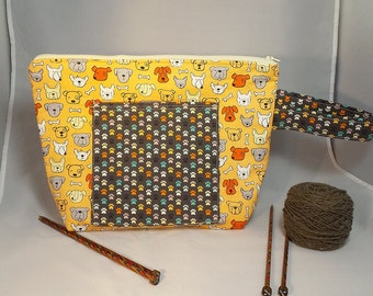 Dogs with Paw Print in orange, Square bottom Large Zipper Bag for Knitting/ Crochet/ Fiber Arts; Project Tote