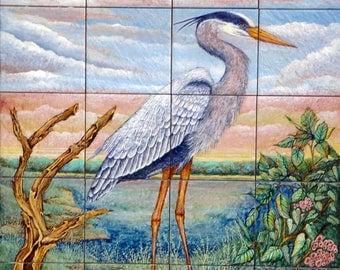 Painted Mural on Ceramic Tiles - Great Blue Heron in a Marsh