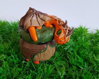 Orange forest dragon, polymer clay dragon with secret storage, wow dragon, Secret hiding place, unique gift