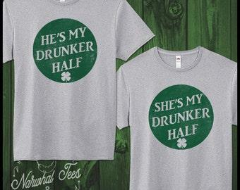 St Patricks Day Couples Shirt Drunker Half T-Shirts Saint Patricks Tee Irish Funny Beer