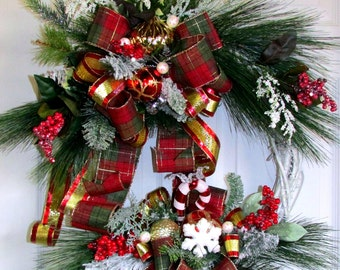 Clearance Sale! was 105. over 50% off - Christmas in July, Christmas wreath, Winter Wonderland, holiday wreath, Designer Christmas wreath
