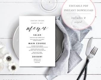 Wedding Menu Printable. Wedding Menu Editable. Calligraphy Wedding Menu. Shower Menu Template. Wedding Dinner Menu. Menu Template. (SH)