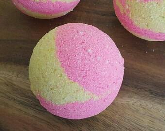 Raspberry and Lemon Bubbly Bath Bomb, Bath Bomb, Bath Fizzy, Foaming Bath Bomb, Pink Bath Bomb, Yellow Bath Bomb