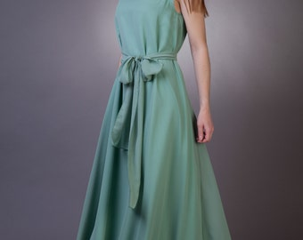 Long sage bridesmaid dress Sage green bridesmaid dress Long sage dress Sage green dress Chiffon sage dress Sage green wedding  15+ colors