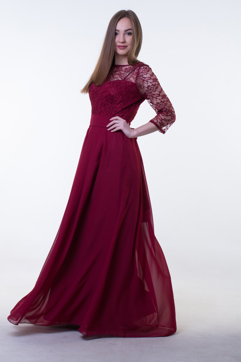 Long red wine bridesmaid dress with sleeves burgundy red zoom ombrellifo Choice Image