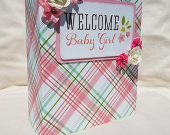 Mini album, baby scrapbook, baby mini album, baby girl scrapbook, baby book,  baby girl memory album, baby girl photo album, baby book, girl
