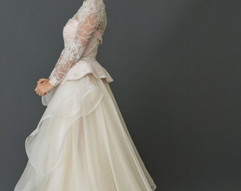 French Lace Trumpet Gown with Organza Peplum Skirt