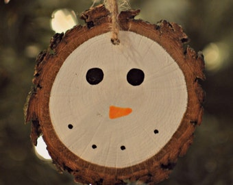 Snowman Ornament, Christmas Ornament, Hand Painted Ornament, Wood Slice Ornament