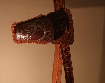 90er Gürtel True Vintage mit Halfter Holster Western Cowboy Verkleidung Sheriff 130 cm Prägung Bild Nieten geflochten
