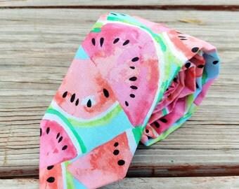 Juicy Watermelon Tie, Watermelon Slices, Watermelon Seeds Necktie, Fruit Slice Necktie, Fruity Necktie, Watercolor Necktie