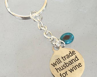 Wine Gifts For Women-Funny Keychain-Wine Keychain-Wine Lover Gift-I Love Wine Keychain-Wine Charm Keyring-Funny Gift for her-Turquoise stone